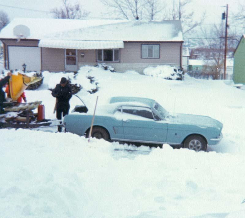 Towing our snowmobile during the winter of 1973-1974