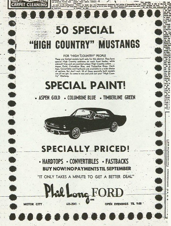 O Meara Ford >> CaliforniaSpecial.com - 1966-1968 High Country Special Mustang Documenation - Newspaper ads ...